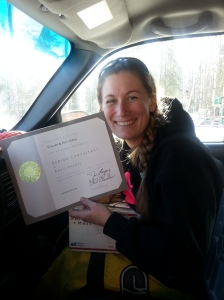 My latest promotion certificate came in the mail! We checked on the way home from snowmachining at the cabin!